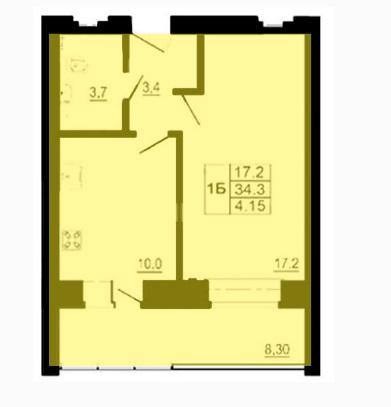 Однокомнатная квартира - ул. Балтийская, д. 16, кв. 98, 103,113