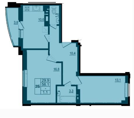 Двухкомнатная квартира, ул. Балтийская, 16 а, кв.7,14,28,49