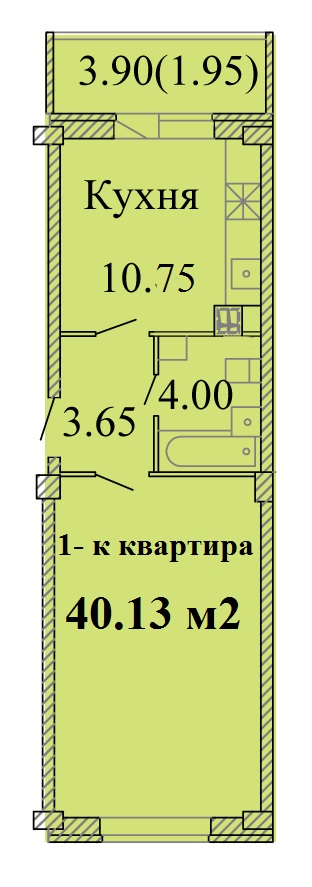 Однокомнатная квартира -  ул.Владимирская, д. 11 а, кв. 35