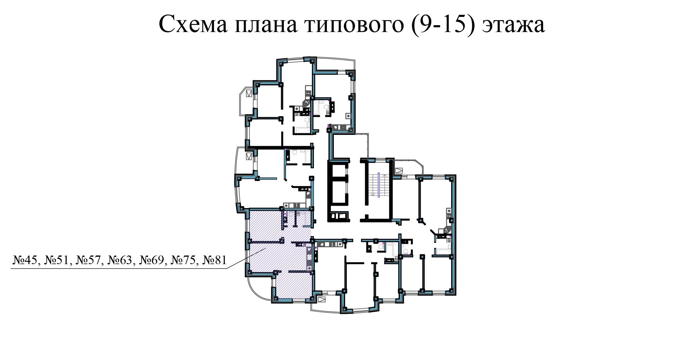 Двухкомнатная квартира - ул.Балтийская, д. 1а, кв. 45, 51, 57, 63, 69, 75, 81