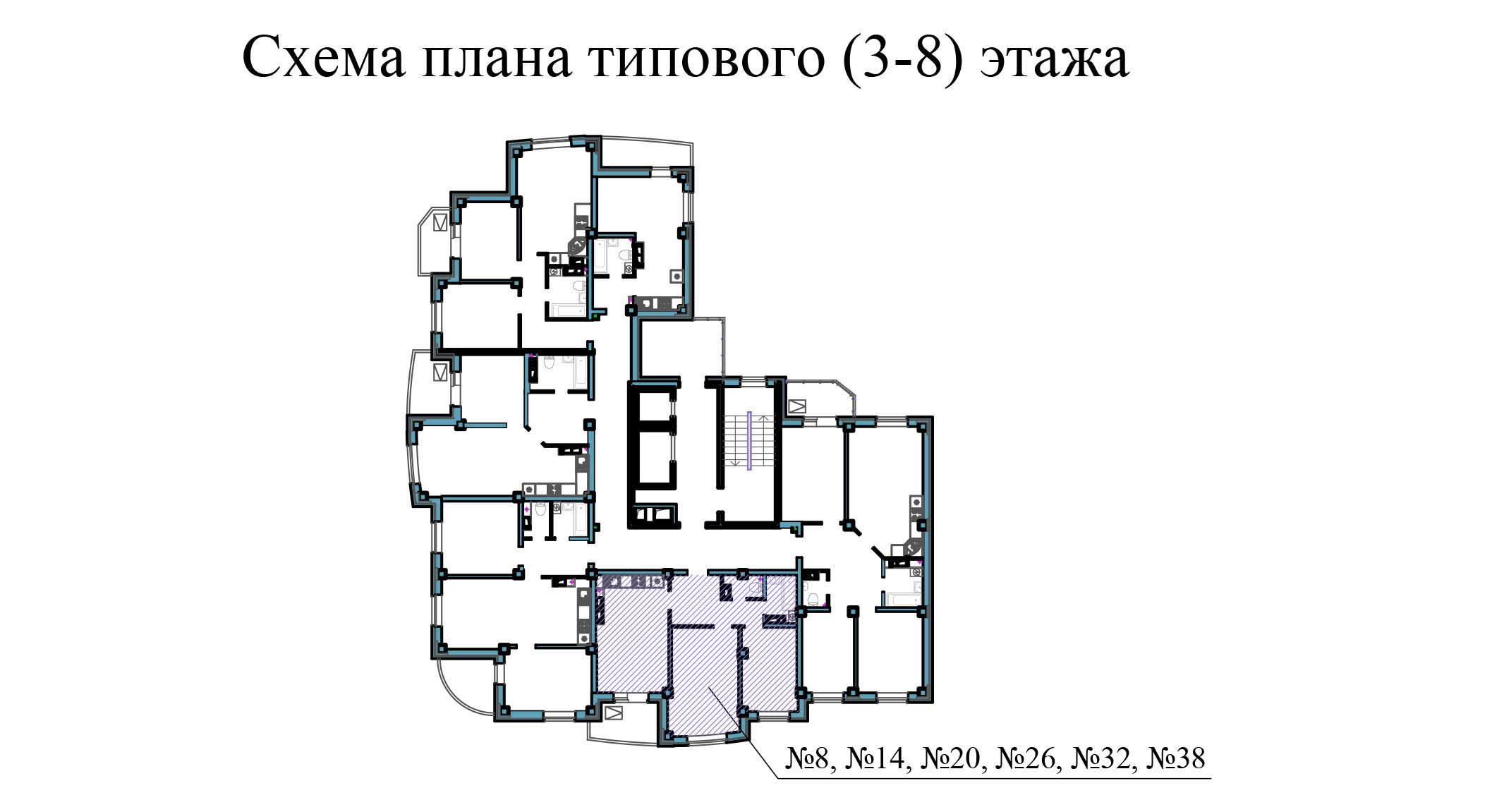 Двухкомнатная квартира - ул.Балтийская, д. 1а, кв. 8, 14,20, 26, 32, 38