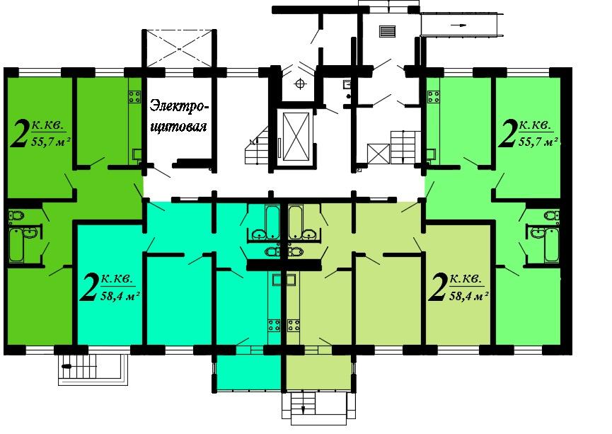 Двухкомнатная квартира, ул. Балтийская, 1б, кв.119